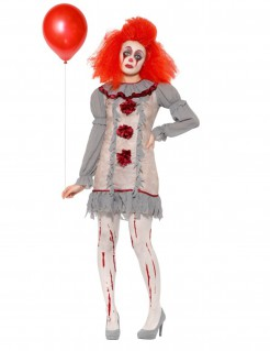 Vintage-Clown Damenkostüm Halloween grau-rot-weiss
