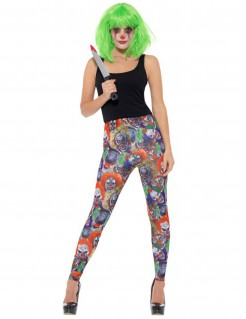Killerclown-Leggings für Damen Kostüm-Accessoire bunt
