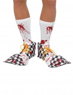 Clown-Überschuhe Halloween Kostüm-Accessoire schwarz-weiss-rot