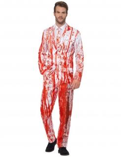 Blutiger Herren-Anzug Halloween weiss-rot