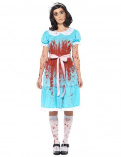 Zombie-Alice Damenkostüm Halloween blau-weiss-rot