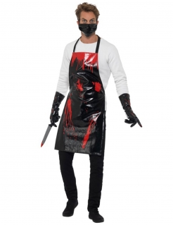 Blutiges Fleischer-Halloweenkostüm für Erwachsene schwarz-rot