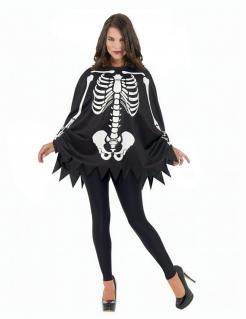 Skelett-Poncho und Handschuhe Kostümaccessoire Halloween Día de los Muertos schwarz-weiss