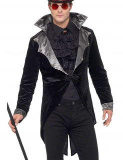 Vampir-Frack Herrenkostüm Halloween schwarz-grau