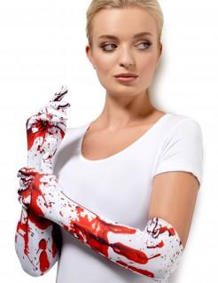 Blutige Handschuhe Horror-Handschuhe für Halloween weiss-rot