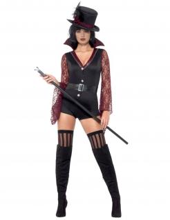 Vampir-Damenkostüm sexy Halloween schwarz-rot