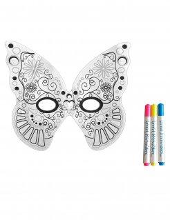 Schmetterlingsmaske zum Bemalen für Kinder weiss