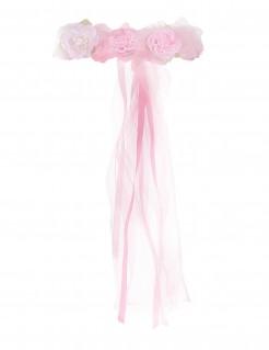 Blumenkranz mit Bändern für Erwachsene rosa