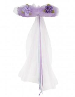 Prinzessinnen-Haarband mit Blumen lila