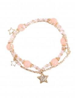 Süsses Armband mit Sternen für Mädchen rosa-gold