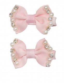 Haarspangen mit Perlen und Strasssteinen rosa