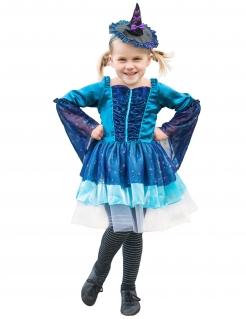 Zauberin-Kostüm für Kinder Halloween Karneval blau