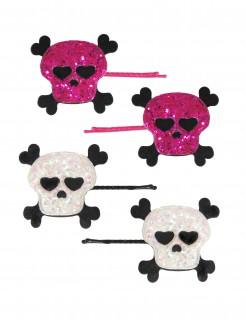 Glitzernde Totenkopf-Haarspangen Halloween-Haarschmuck 4 Stück pink-weiss