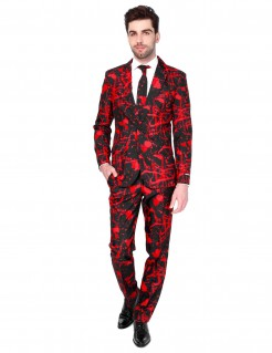 Suitmeister™ Mr Black Blood Herrenanzug Halloween rot-schwarz