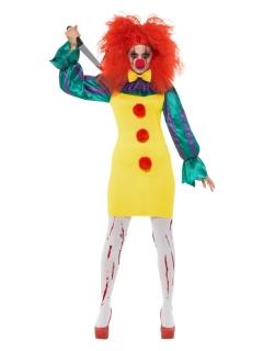 Mörderisches Horrorclown-Kostüm für Damen gelb-bunt