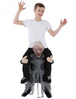 Carry-Me-Zombiekostüm für Kinder Morphsuits™ Halloweenkostüm schwarz-weiss-grau