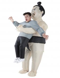 Sumoringer-Huckepackkostüm Faschingskostüm Morphsuits™ weiss-grau-schwarz