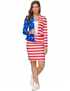 Mrs. USA Damenanzug blau-weiss-rot