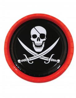 8 Pappteller Piraten 23 cm