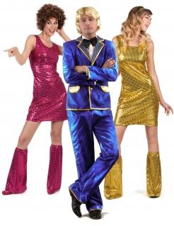 70er-Jahre Disco Gruppenkostüm Sänger und Tänzerinnen pink-blau-gold