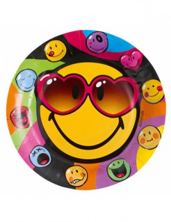 Smiley World™-Teller 8 Stück bunt 23cm