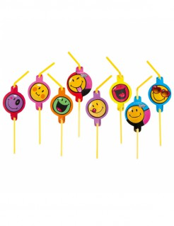 Smiley World™-Strohhalme Smiley™-Trinkhalme 8 Stück gelb-bunt