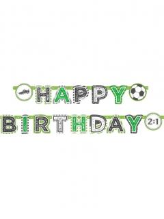 Fussball-Girlande Happy Birthday Geburtstagsdeko grün-weiss 2 m