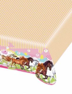 Pferde Kunststoff-Tischdecke bunt 120x180cm