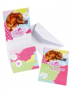 Pferde-Einladungskarten 6 Stück bunt