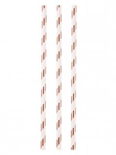 Strohhalm-Set 12 Stück weiss-gold 19 cm