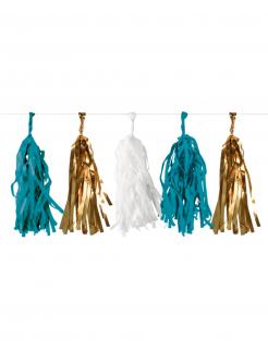 Quasten-Girlande blau-gold-weiss 3 m