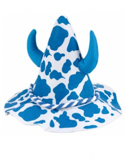 Hut für Erwachsene mit Kuhflecken und Hörner blau-weiss