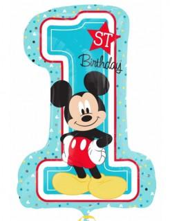 Micky Maus™-Geburtstagsballon Zahl 1 blau-bunt 48x71cm