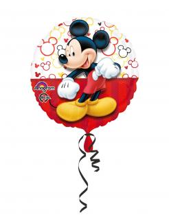 Runder Micky Maus™-Folienballon mit Band rot-bunt 43cm