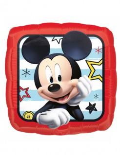 Eckiger Micky Maus™-Folienballon Disney™-Luftballon mit Streifen rot-bunt 40x40cm