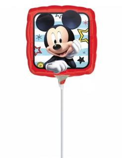 Eckiger Micky Maus™-Folienballon Disney™-Luftballon auf Stab rot-bunt 23x23cm