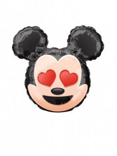 Micky Maus™ Emoji™ Ballon Folienballon schwarz rot beige 22cm