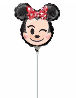 Minnie Maus™-Luftballon auf Stab Emoji™ schwarz-hautfarben-rot 22x22cm