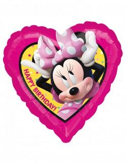 Minnie Maus™-Geburtstagsballon in Herzform pink-gelb 43x43cm