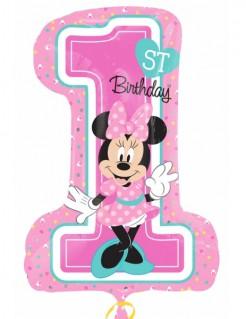 Minnie Maus™-Geburtstagsballon Zahl 1 rosa-bunt 48x71cm