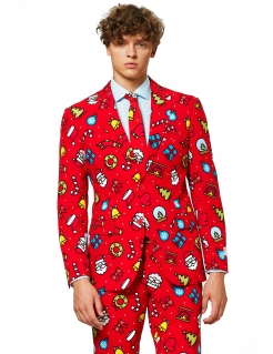 Mr. Adrett-Herrenkostüm für Weihnachten rot-bunt