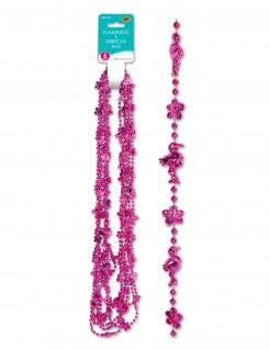 Halsketten mit Flamingo und Blumen 6 Stück pink 83cm