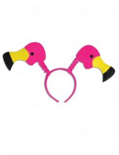 Witziger Flamingo-Haarreif Spassartikel pink-gelb