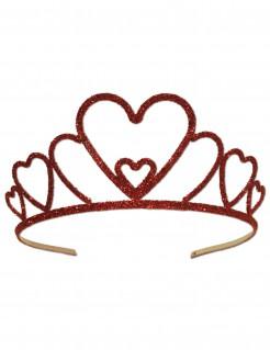 Glitzerkrone für Damen Herzform Accessoire rot