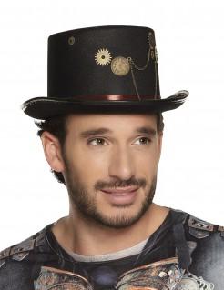 Steampunk-Zylinder für Herren Kostüm-Accessoire schwarz-gold