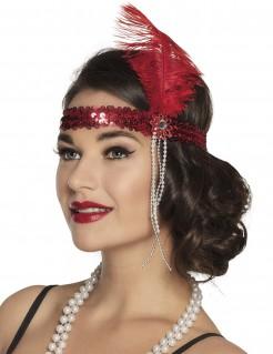20er- Jahre Hi-Hat Pailletten Stirnband für Damen rot 19 cm