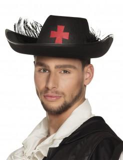 Musketier-Hut mit Kreuz und Feder für Erwachsene schwarz
