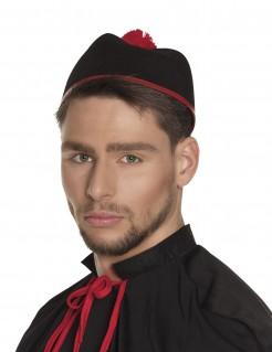Kardinalsmütze für Erwachsende Kostümaccessoire schwarz-rot