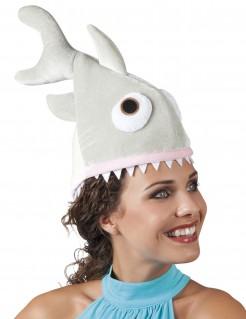 Witziger Hai-Hut Spasshut für Erwachsene grau-weiss