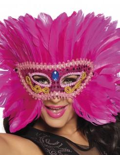 Karnevalsmaske mit Federn Federmaske für Damen pink